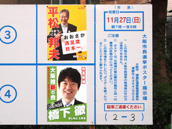 大阪市長選挙ポスター掲示板