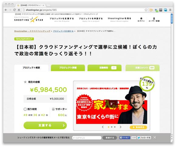 ShootingStar 【日本初】クラウドファンディングで選挙に立候補!ぼくらの力で政治の常識をひっくり返そう!!