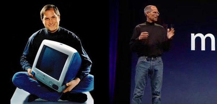 Steve Jobs:(左)1998年 初代iMac(右)2012年 iPhone 5
