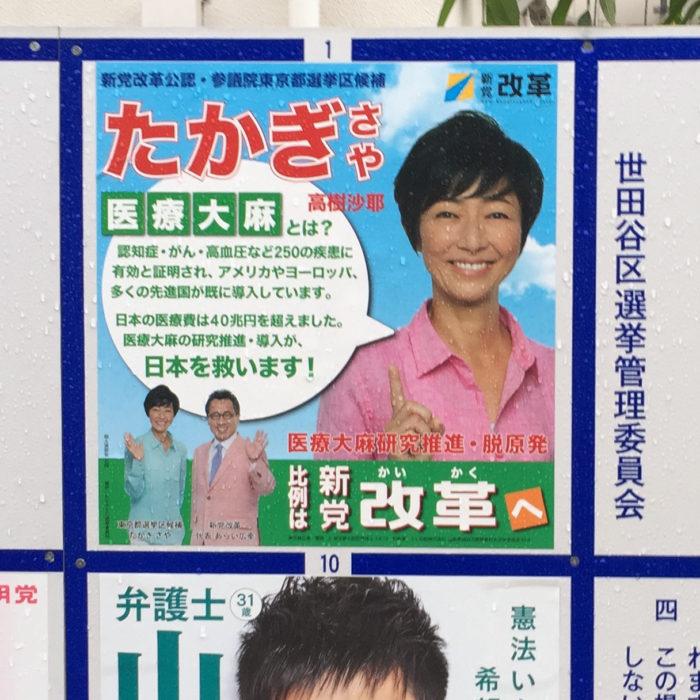 新党改革 たかぎさや 参議院(東京都選出)2016 ポスター掲示板