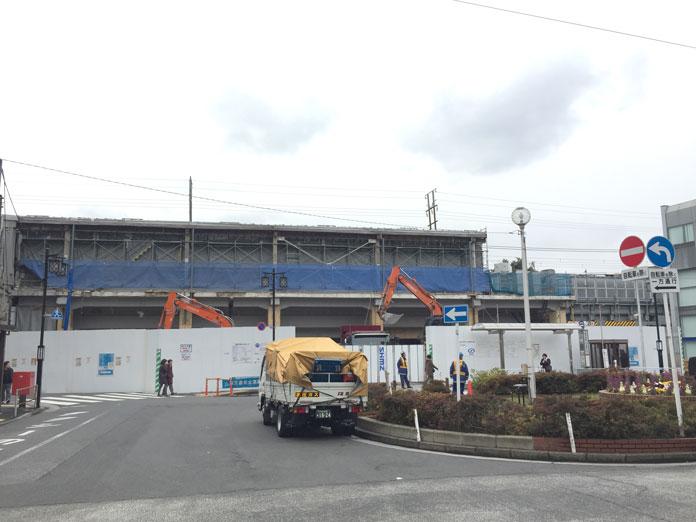 2017年4月1日 工事中の祐天寺駅