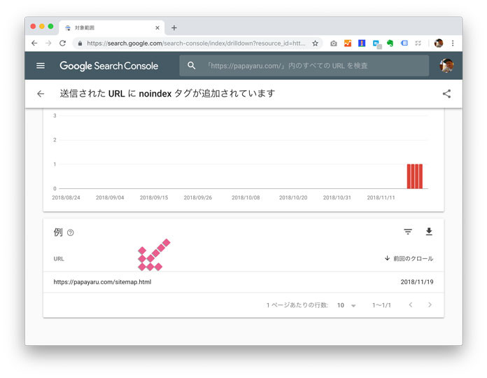 Google Search Console sitemap.html でエラー