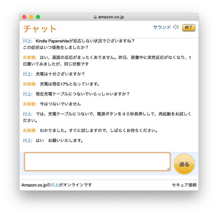 Amazonのサポートとチャットで故障内容を確認