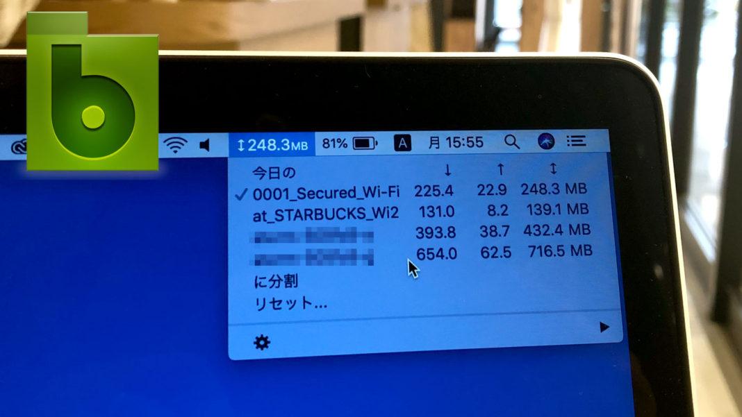 スターバックスでMacBookを開いて、Bandwidth+の数値をチェックしているところ