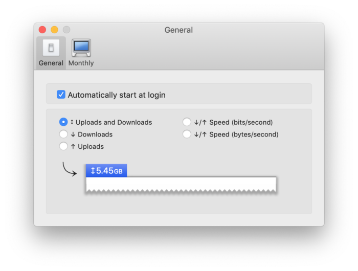 Bandwidth+ 設定画面 アップロード・ダウンロードの通信量を調べるにチェック
