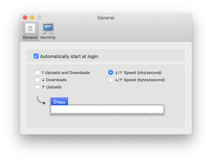 Bandwidth+ 設定画面 アップロード・ダウンロードの通信速度をチェック