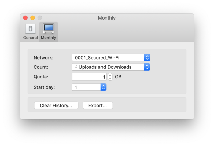 Bandwidth+ 設定画面 履歴を書き出し