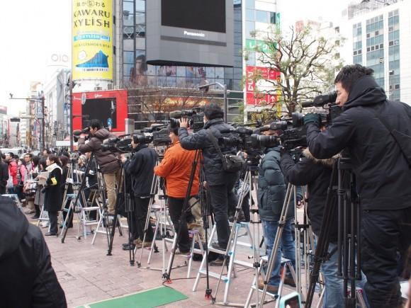 渋谷駅前スクランブル交差点 報道陣