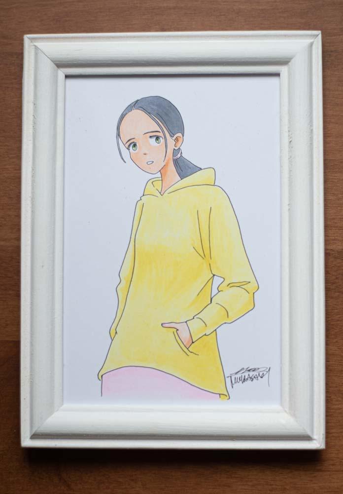 ムラサキさんの原画(パーカーを着た女の子)